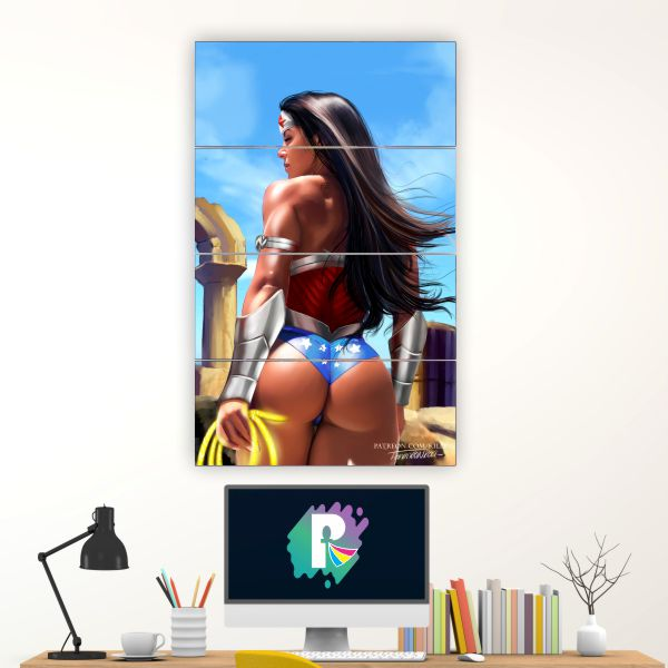 Kit 4 Quadros mosaicoWONDER WOMAN