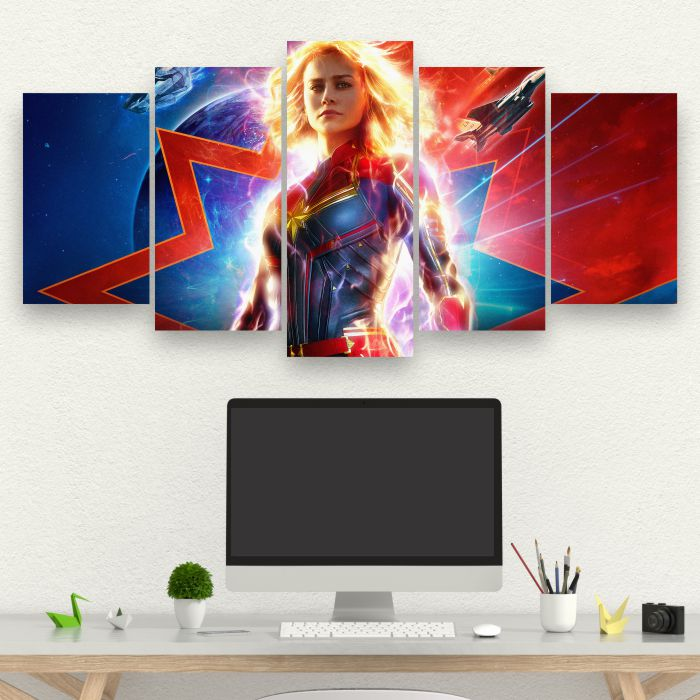 Kit 5 Quadros Captã Marvel