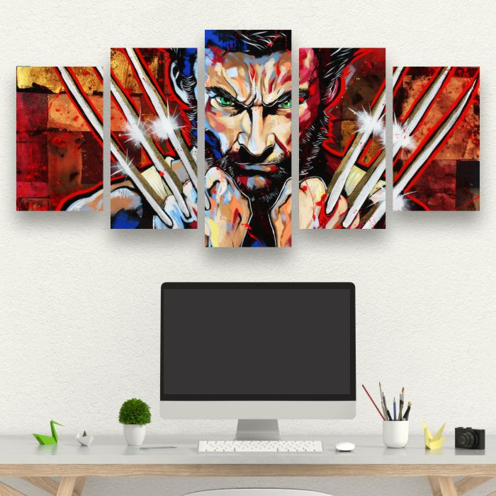 Kit 5 Quadros Logan - Wolverine