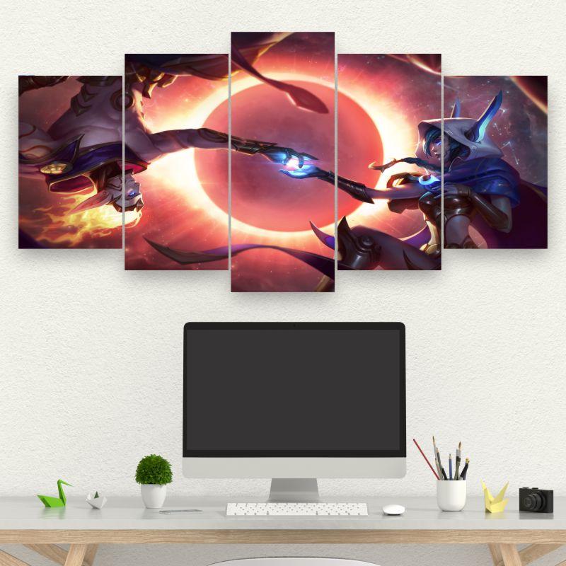 Kit 5 Quadros Mosaico Cosmic Dusk Xayah & Cosmic Dawn Rakan - League of Legends