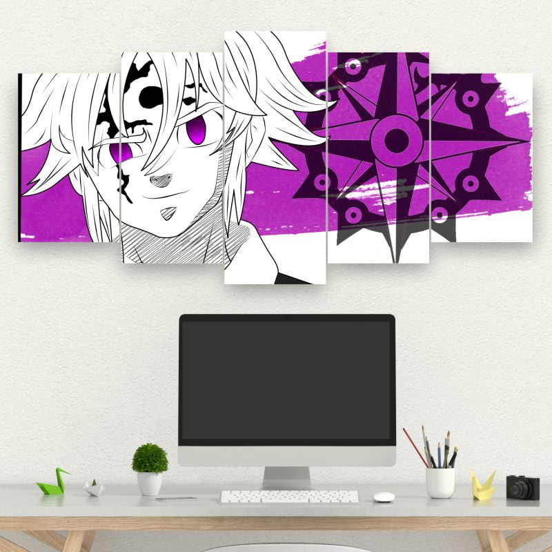 Kit 5 Quadros mosaico Demon Meliodas
