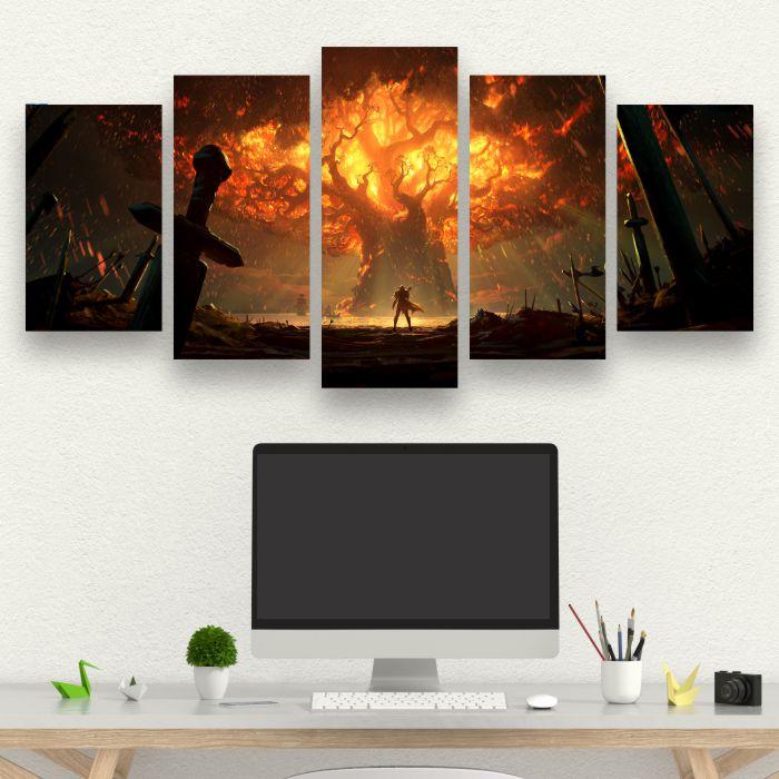 Kit 5 Quadros queima de Teldrassil -  WORLD OF WARCRAFT