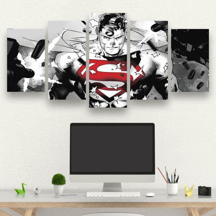 Kit 5 Quadros Super Homem