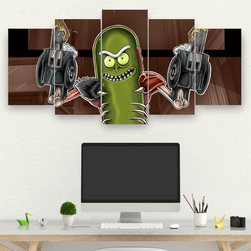 Painel Kit 5 Quadros Pickle Rick - Rick And Morty
