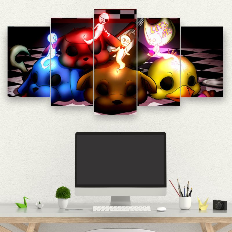 Painel Mosaico Kit de 5 Quadros Five Nights at Freddy's