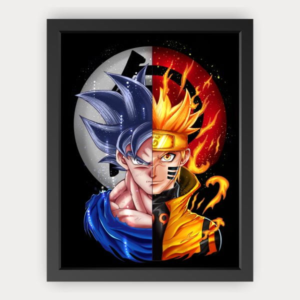 Quadro Led Goku e Naruto
