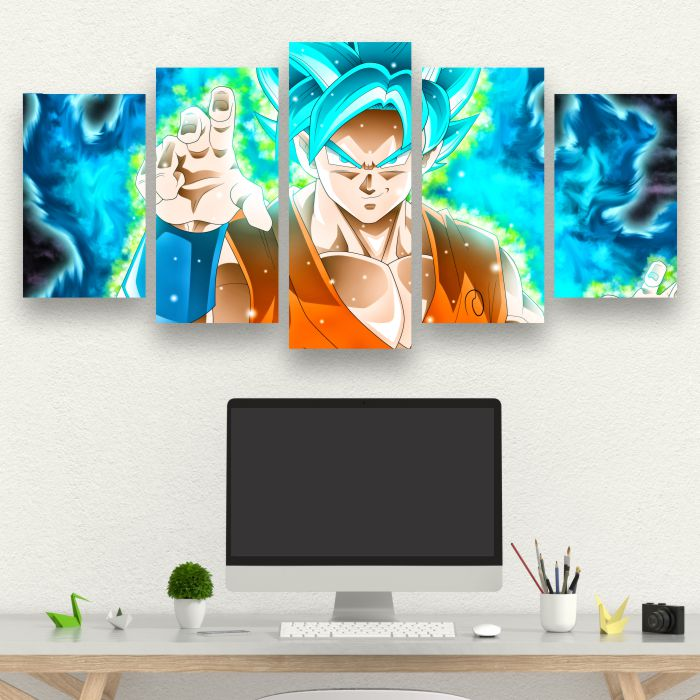 Kit 5 Quadros Goku Dragon Ball