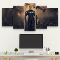 Kit 5 Quadros Marvel - Capitão América