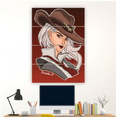 Kit 4 Quadros mosaico Ashe Overwatch
