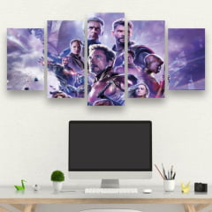 Kit 5 Quadros Avengers End Game