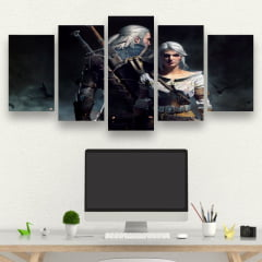 Kit 5 Quadros Gamer - The Witcher