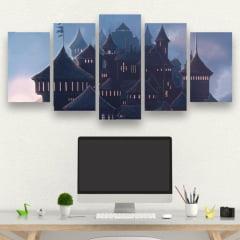 Kit 5 Quadros Hogwarts - Harry Potter