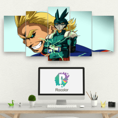 Kit 5 Quadros mosaico Boku no Hero Future