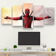 Kit 5 Quadros mosaico DeadPool