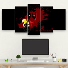 Kit 5 Quadros mosaico DEADPOOL BLOOD