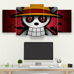 Kit 5 Quadros mosaico GENJUTSU PIRATA - ONE PIECE E NARUTO