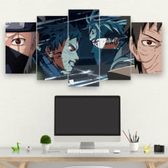 Kit 5 Quadros mosaico Obito x Kakashi