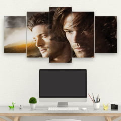 Kit 5 Quadros Sam e Dean winchester - Série Supernatural