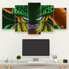 Painel Kit 5 Quadros Mosaico Cell - Dragon Ball
