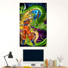 Painel Mosaico Kit de 4 Quadros Goku Ssj 3 And Shenlong - Dragon Ball