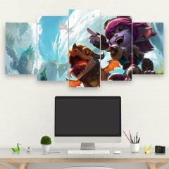 Painel Mosaico Kit de 5 Quadros Dragon Trainer Tristana - league of legends