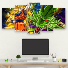Painel Mosaico Kit de 5 Quadros Goku Ssj 3 And Shenlong - Dragon Ball