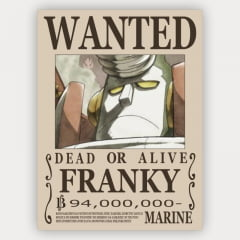 Quadro Decorativo Cartaz de procurado Franky - One Piece
