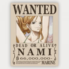 Quadro Decorativo Cartaz de procurado da Nami  - One Piece