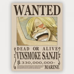 Quadro Decorativo Cartaz de procurado Sanji  - One Piece