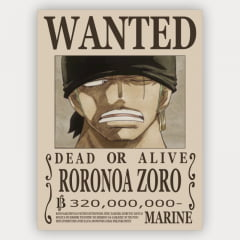 Quadro Decorativo Cartaz de procurado Zoro - One Piece