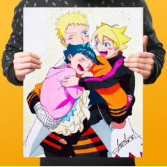 Quadro Decorativo Naruto, Boruto and Himawari